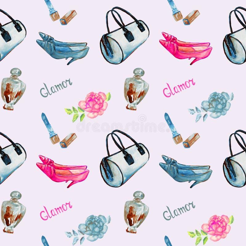 Glamourtillbehör, blå trummatyppåse, läppstift, doft, skor för läderkattungehäl, rosa färgros på mjuk grå bakgrund royaltyfri illustrationer