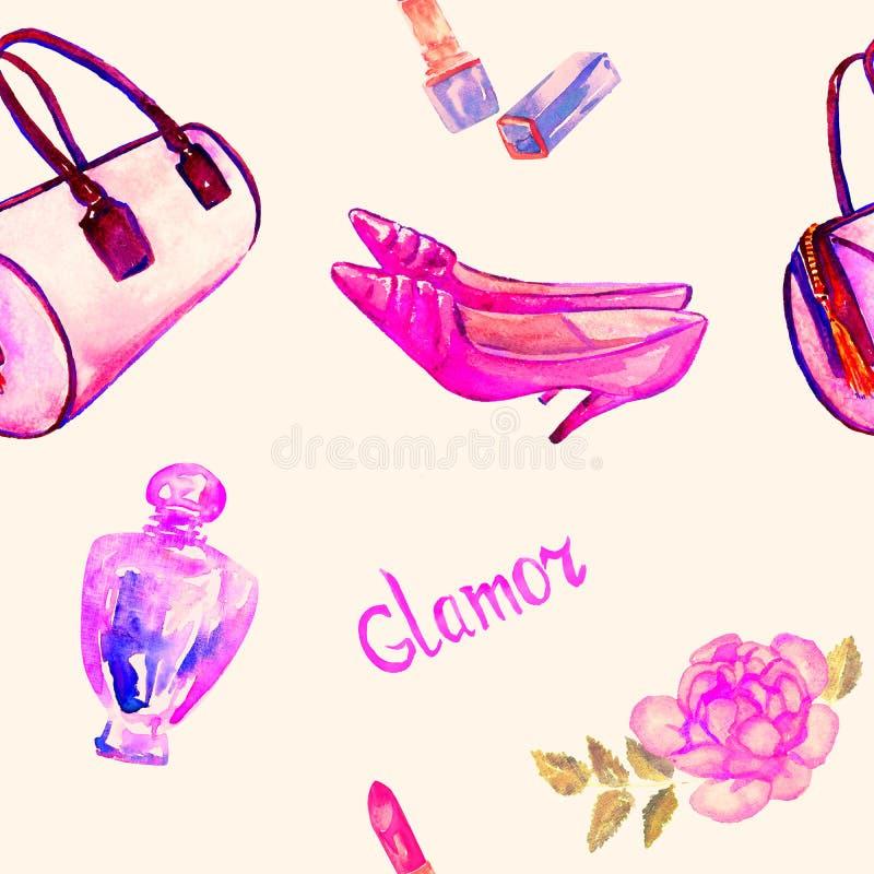 Glamourtillbehör, rosa trummatyppåse, läppstift, doft, skor för läderkattungehäl, rosa färgros, modell på mjuk bakgrund stock illustrationer