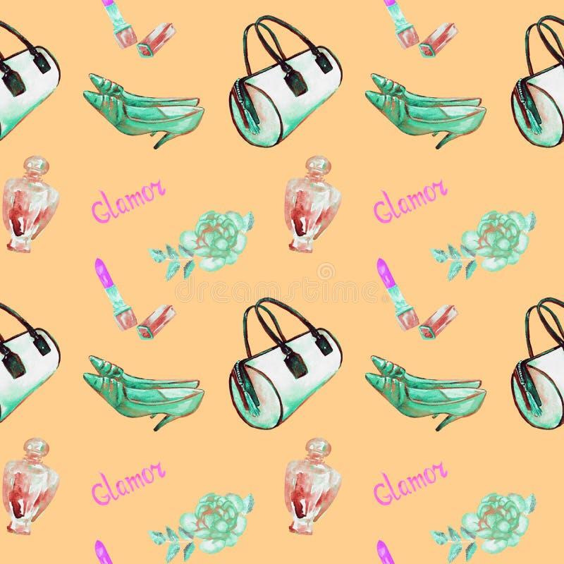 Glamourtillbehören, turquois barrel typpåsen, läppstift, doft, skor för läderkattungehäl, steg på mjuk gul bakgrund vektor illustrationer