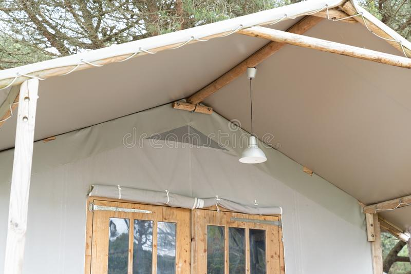 Glamping cabin Canvas safari tent detail roof stock photos