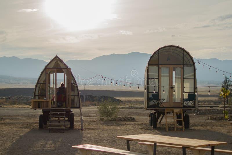 Glamping in Californian Desert stock photography