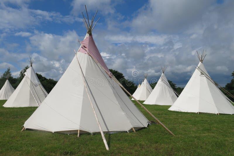 Glamping camping tipis tepees royalty free stock photos