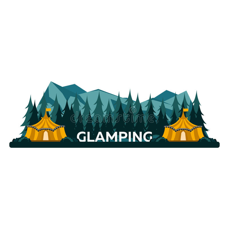 Glamping. Glamor camping. Campfire. Pine forest and rocky mountains. Evening Camp. royalty free illustration