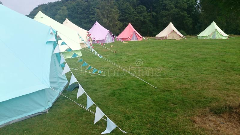 Glamping. Glamorous tents at a campsite in Hampshire stock images
