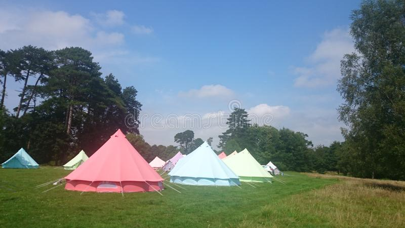 Glamping. Glamorous tents at a campsite in Hampshire stock photos