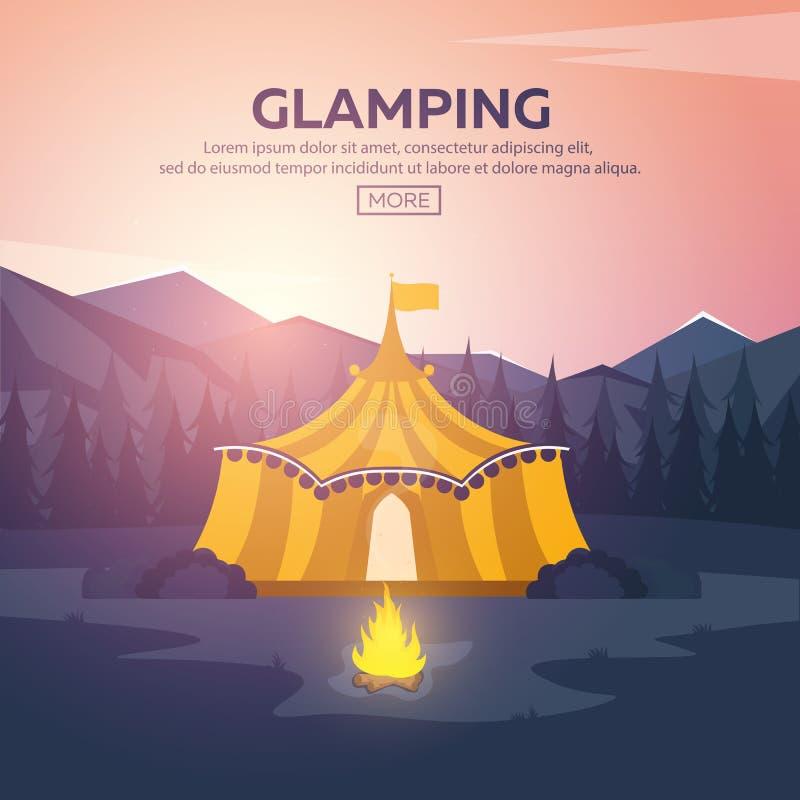 Glamping Glamour het kamperen campfire Pijnboom bos en rotsachtige bergen Het gelijk maken van kamp stock illustratie