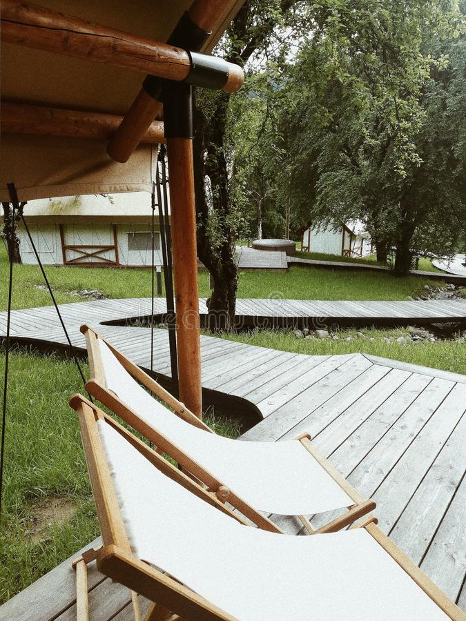 Glamping is always good idea. Relax, lay, down royalty free stock photos
