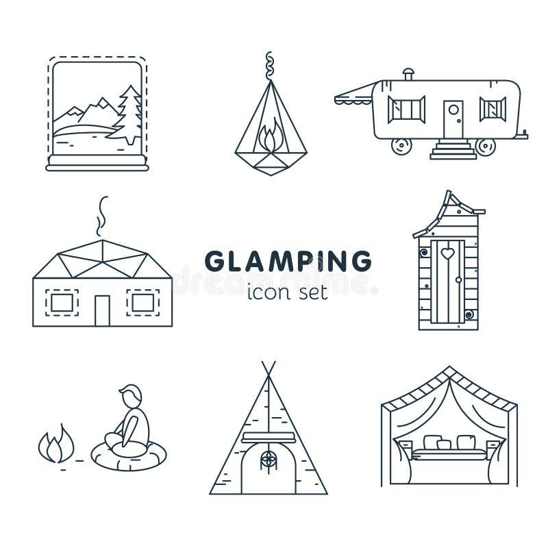 Glamping - icono fijado para su proyecto fotografía de archivo libre de regalías