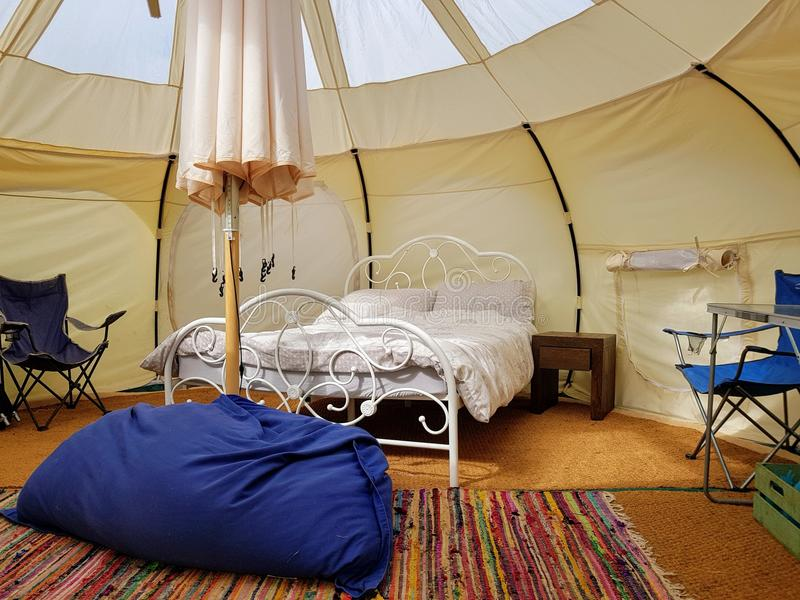 Glamping, the interior of a glamping camping tent in Exmoor. UK stock photo