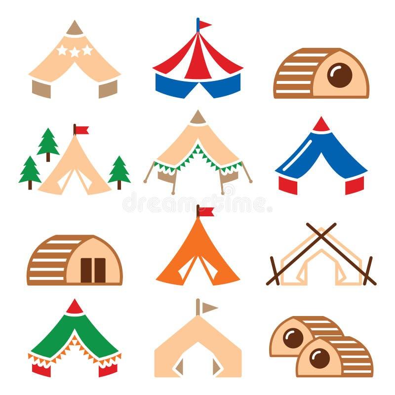 Glamping, luxueuze het kamperen tenten en de pictogrammen geplaatste van bambuhuizen stock illustratie