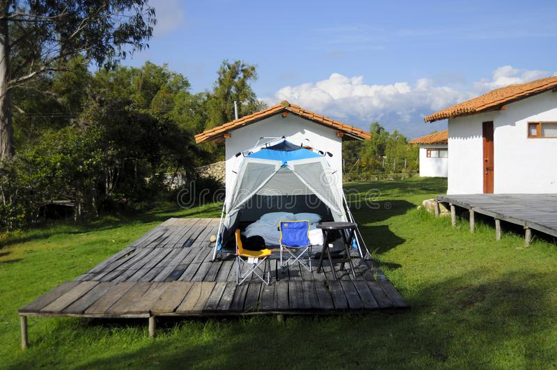 Glamping in the middle of a farm. This photo was taken in one of the first hotels in colombia that offers its guests the experience of glamping, which means stock photography