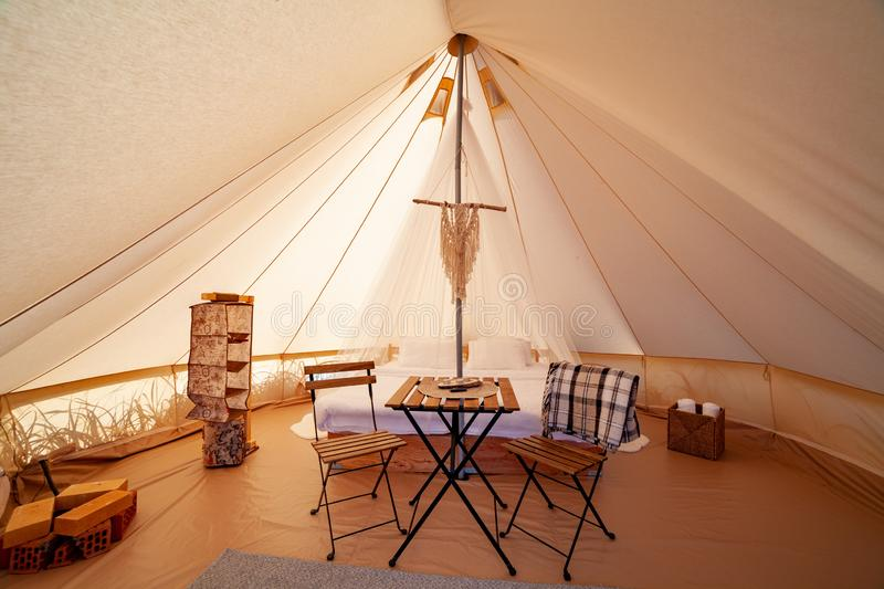 Glamping on the Pacific coast royalty free stock images