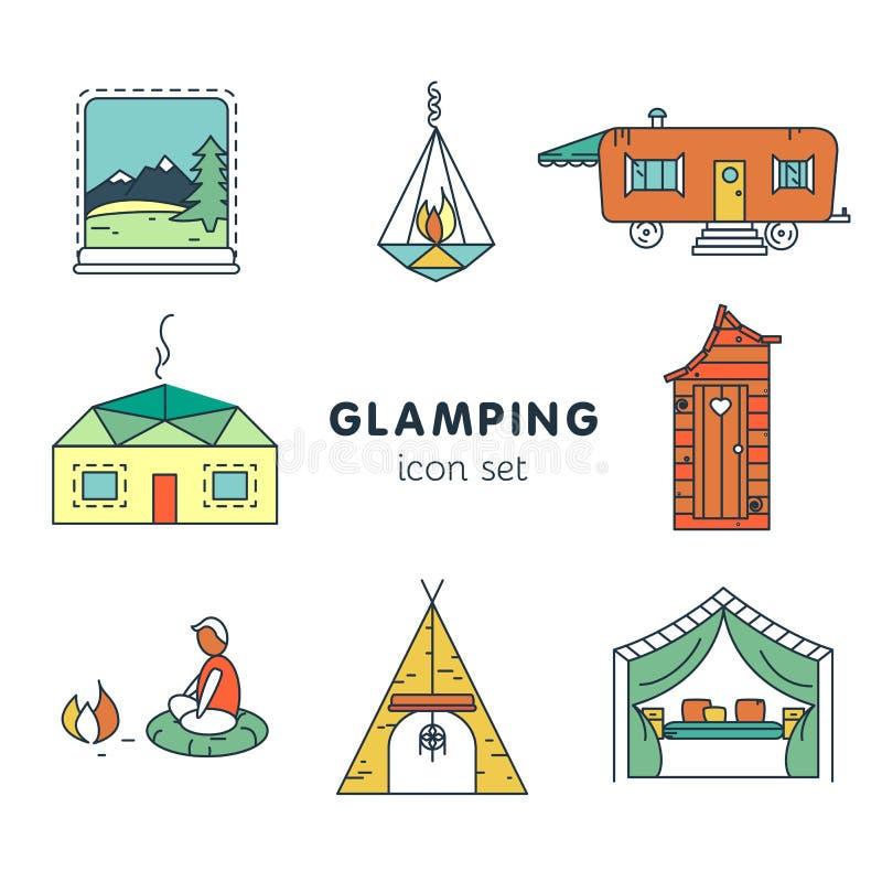 Glamping - pictogram voor uw project wordt geplaatst dat royalty-vrije illustratie