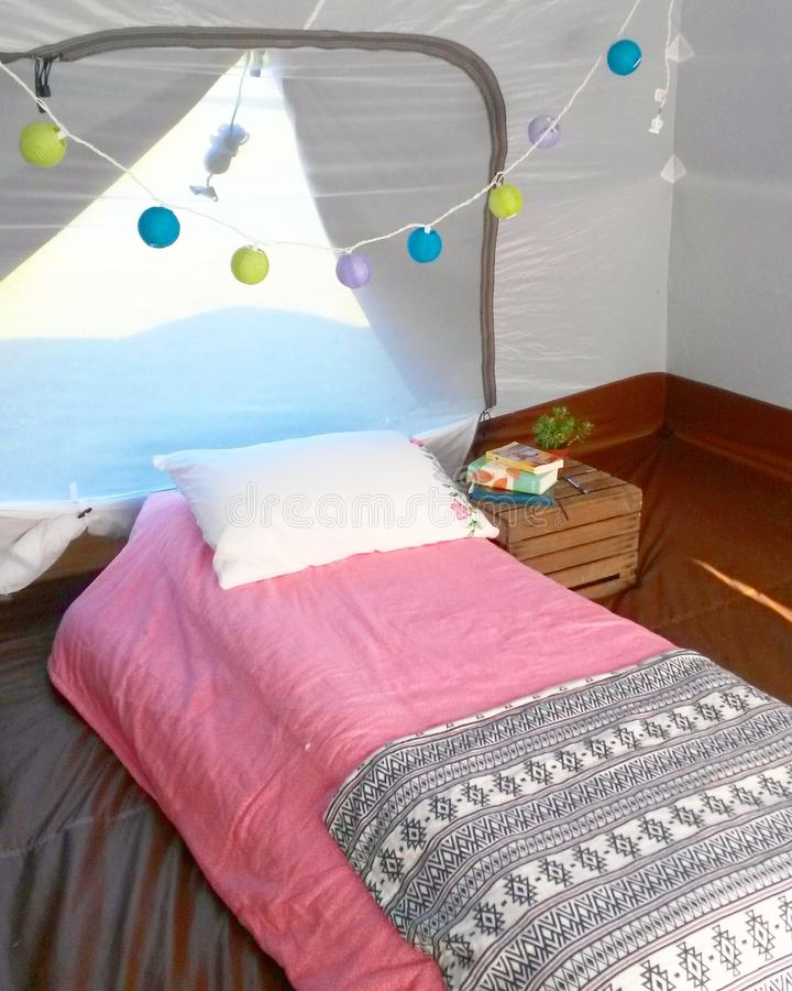 Glamping tent stock photography