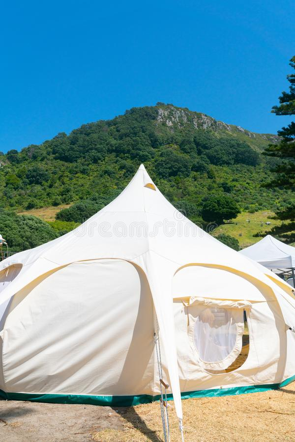 Glamping tent and set up at Mount Maunganui stock images