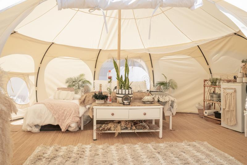Glamping tent and set up at Mount Maunganui royalty free stock photography