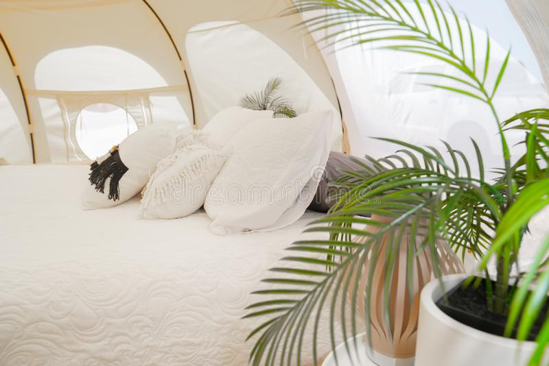 Glamping tent and set up at Mount Maunganui stock photos