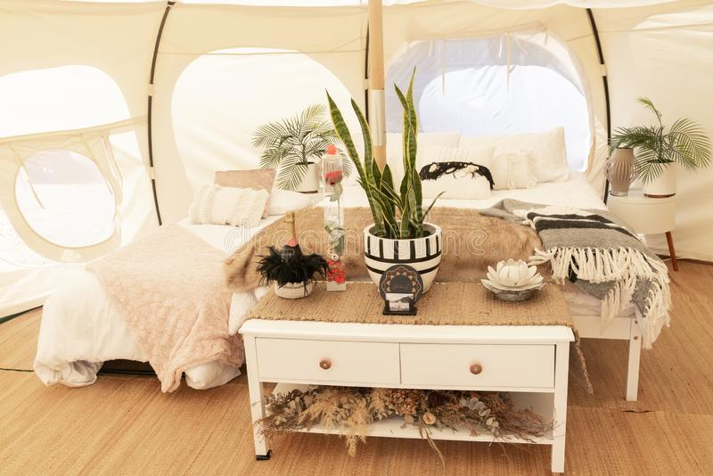 Glamping tent and set up at Mount Maunganui stock photo