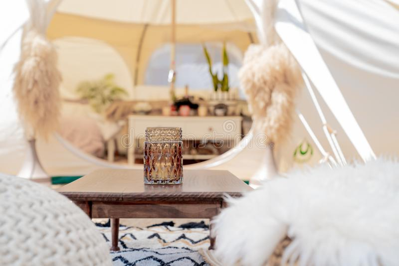 Glamping tent and set up at Mount Maunganui royalty free stock photo