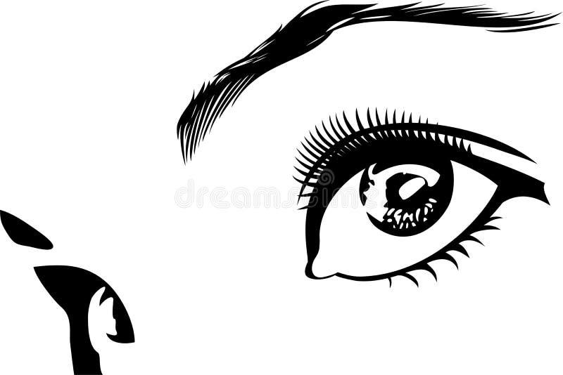 Glance. Vector illustration of black - white open eyes