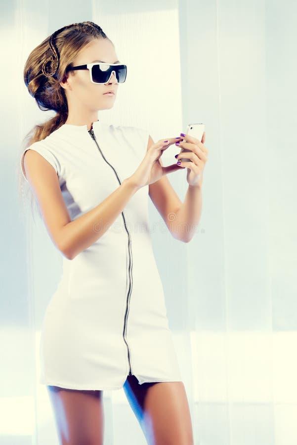 Download Glance phone stock photo. Image of female, futuristic - 34196950