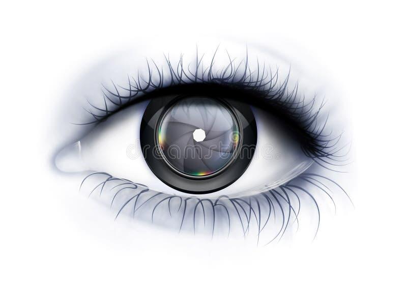 Glance Photographer. Eye close up with camera lens as iris royalty free illustration