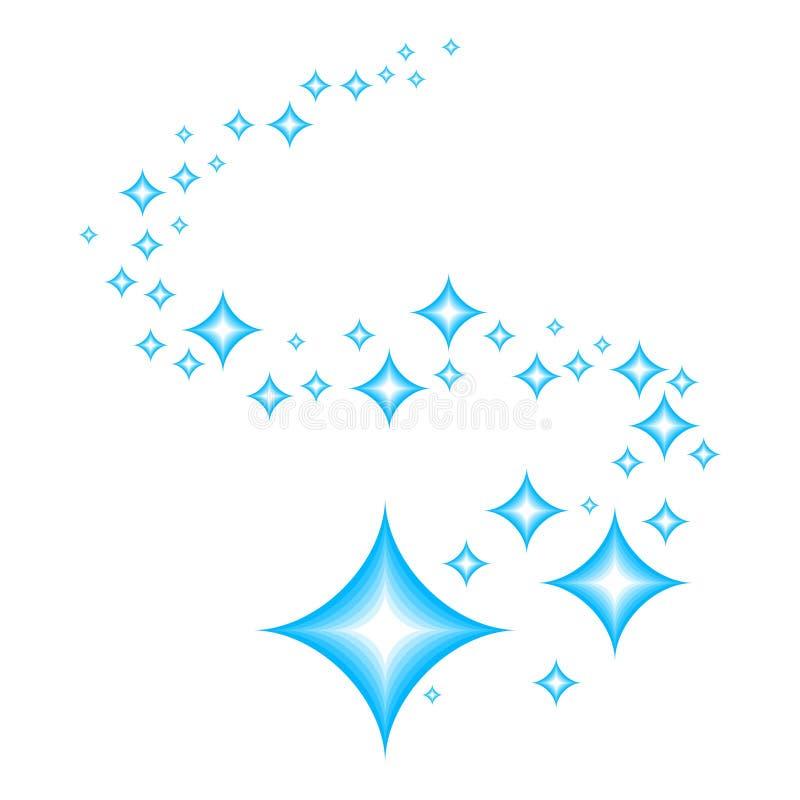 glans Blauwe sterren van schittering en uitstraling van netheid en versheid Het schoonmaken, vers en hygiëne tekensymbool vector illustratie