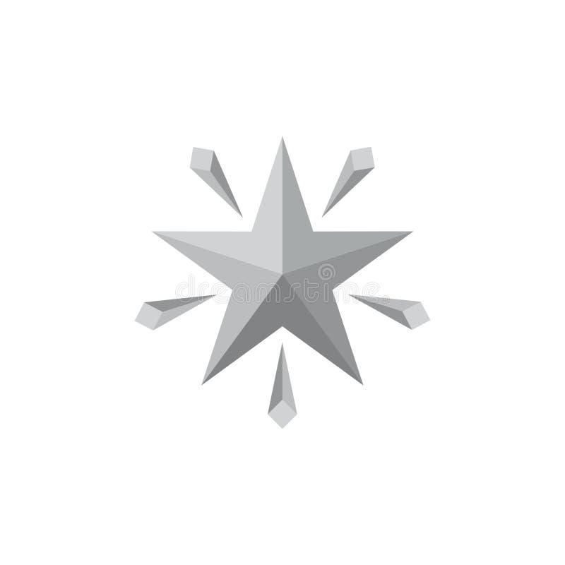 Glans het embleemvector van de ster 3d gradiënt vector illustratie