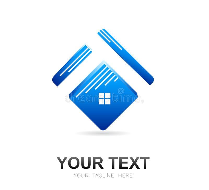 Glans Vierkant blauw Huisdak en het vectorelement van het huisembleem vector illustratie