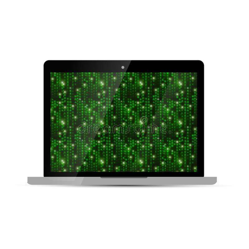 Glansig bärbar dator med den gröna matrisskärmen på vit royaltyfri illustrationer