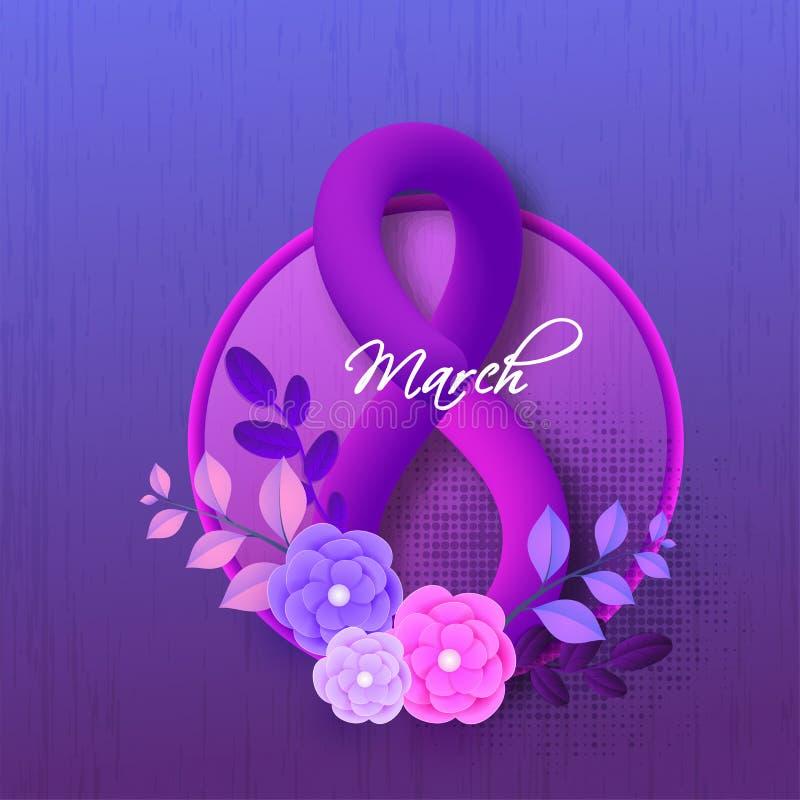 Glansig blandningtext8 marsch som dekoreras med pappers- klippta blommor på purpurfärgad bakgrund royaltyfri illustrationer