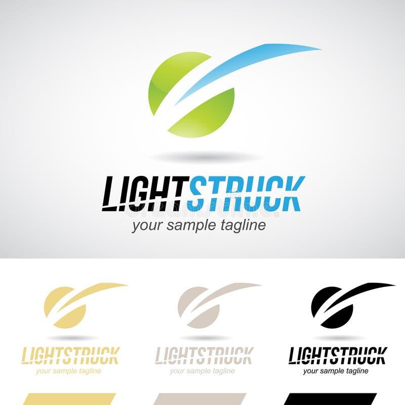 Glansig blixtbult Logo Icon för gräsplan och för blått stock illustrationer