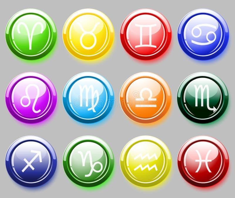 Glansig colore knäppas med zodiaktecken för rengöringsduk stock illustrationer