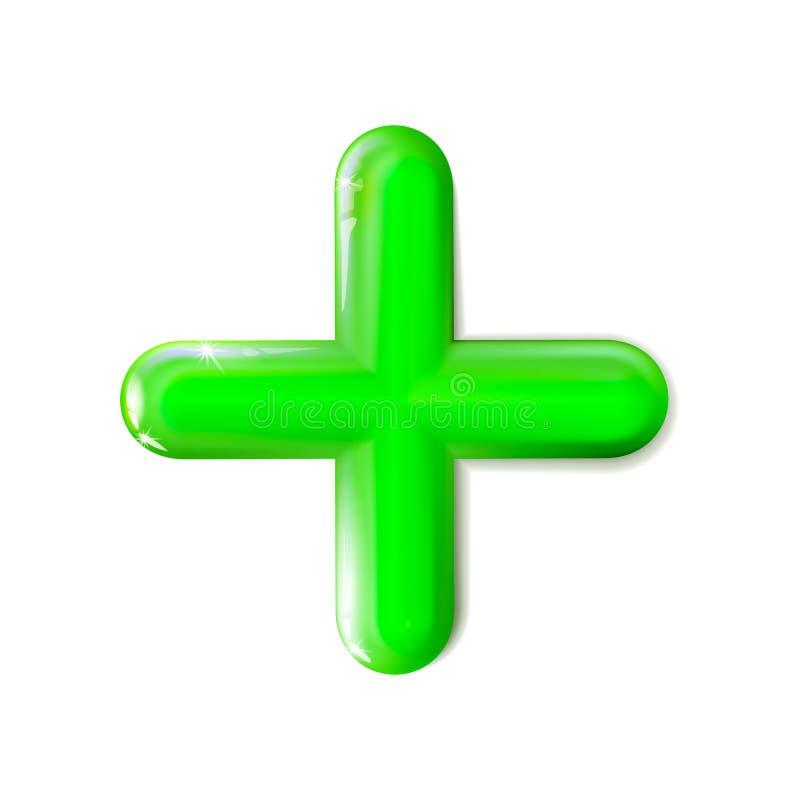 Glansig 3D isolerade matematiskt plus teckensymbol Symbolgräsplan Ui annons Realistisk plast- leksak f?r design Jämviktsbegreppsp vektor illustrationer