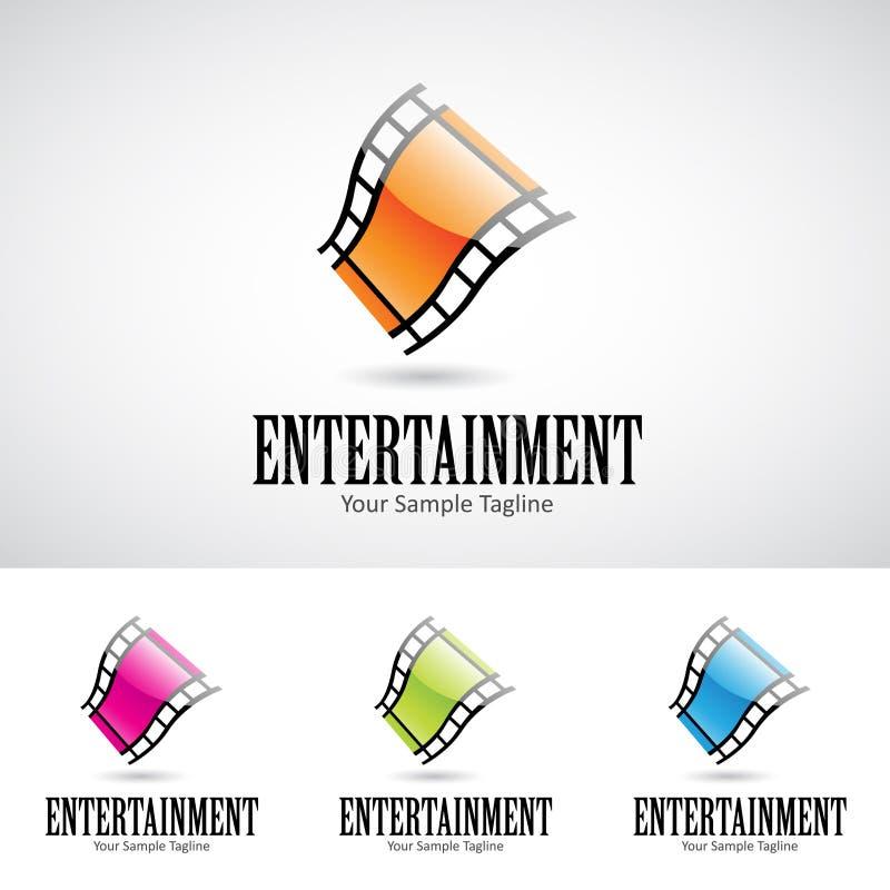 Glansig filmrulle Logo Icon för tecknad film 3d stock illustrationer