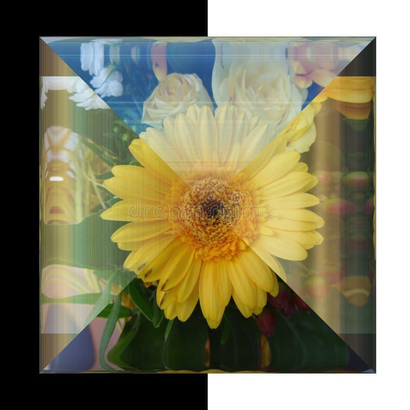 glansig fyrkantig knapp 3D med den verkliga blomman royaltyfria bilder