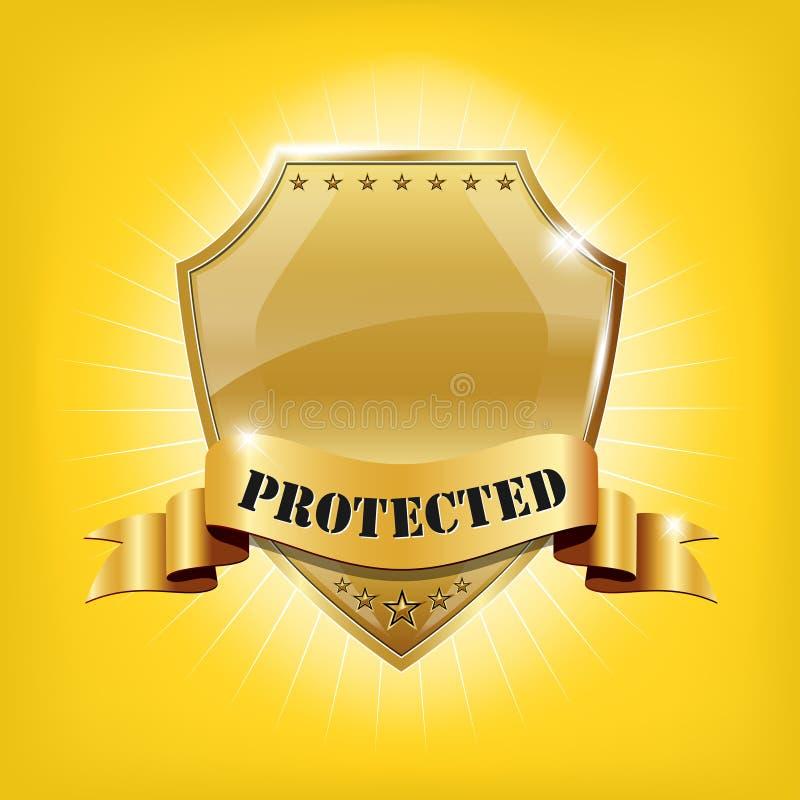 glansig guld- skyddad säkerhetssköld royaltyfri illustrationer