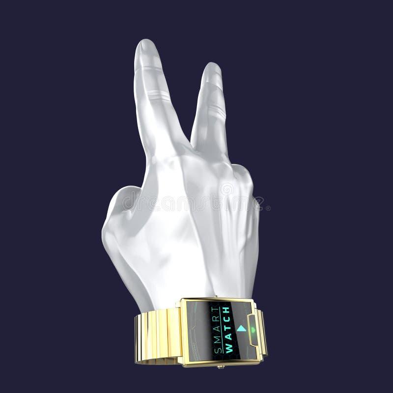 Glansig hand för bilmålarfärgskyltdocka med den smarta klockan för lyx på handleden royaltyfri illustrationer