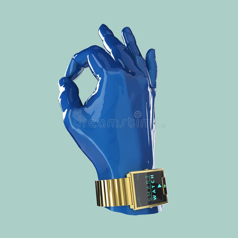 Glansig hand för bilmålarfärgskyltdocka med den smarta klockan för lyx på handleden vektor illustrationer
