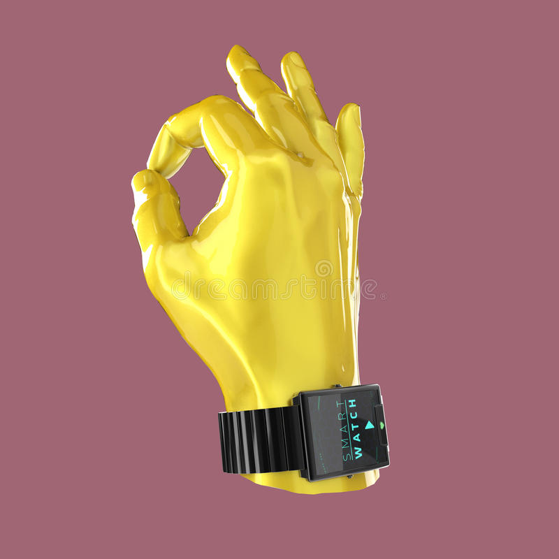 Glansig hand för bilmålarfärgskyltdocka med den smarta klockan för lyx på handleden stock illustrationer