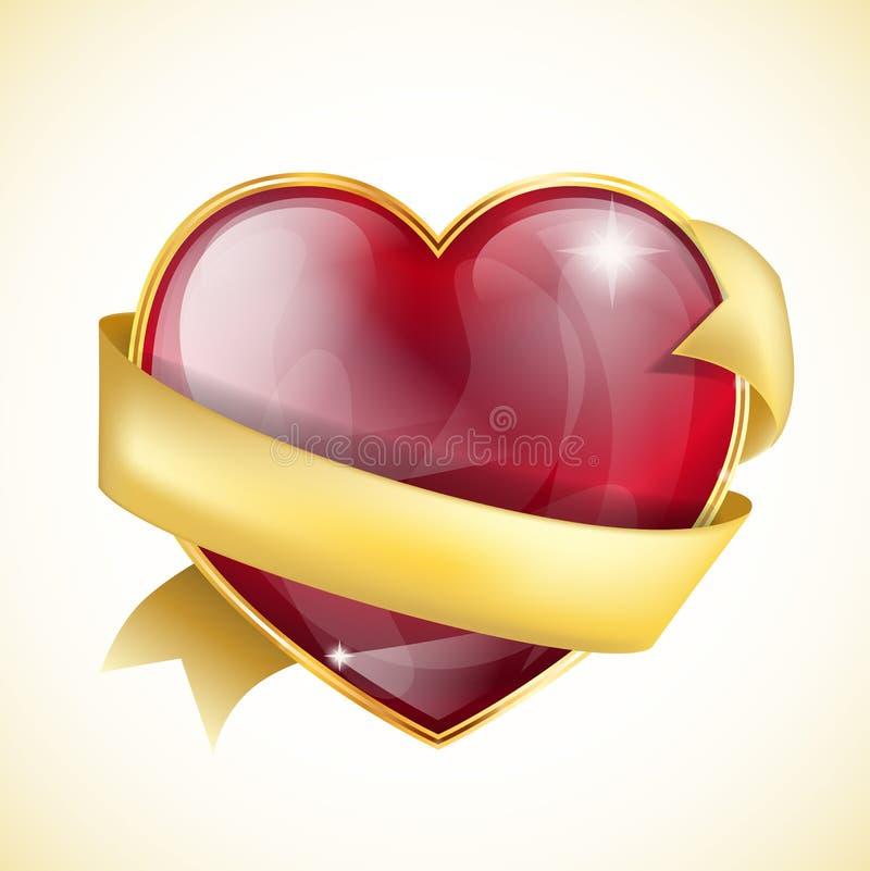 Glansig hjärta vektor illustrationer