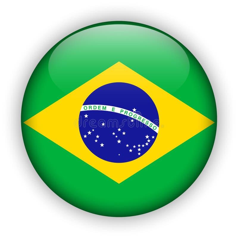 Glansig knapp för Brasilien flagga världsfotboll 2014 vektor illustrationer