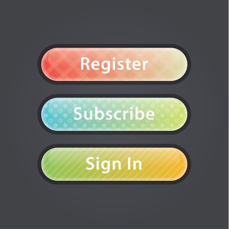 Glansig knapp för vektor. Tre colorfully knappar. royaltyfri illustrationer