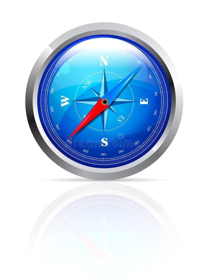 glansig kompass royaltyfri illustrationer