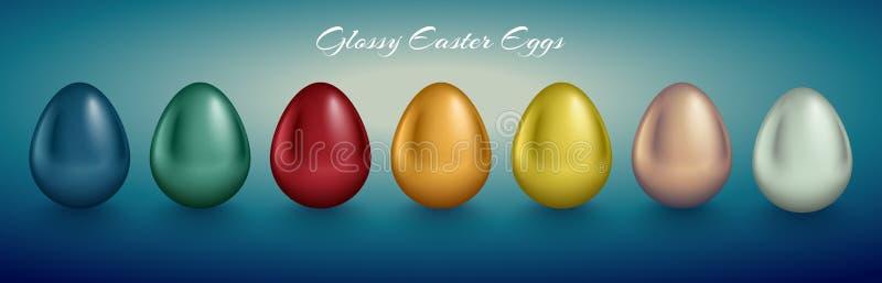 Glansig metallisk ägguppsättning Olik färg reflekterar målarfärg Djup bakgrund för turkos stock illustrationer