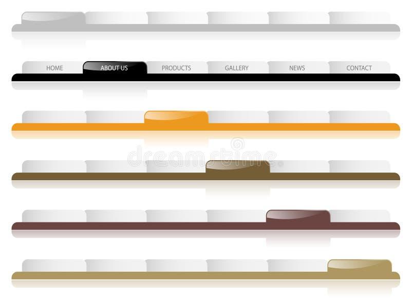 glansig navigering tabs website vektor illustrationer