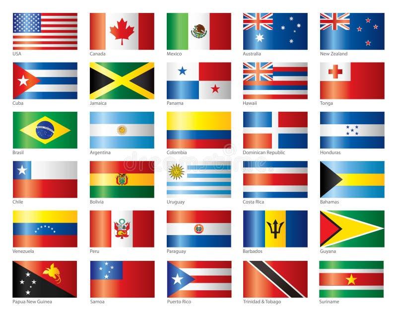 glansig oceania för Amerika flaggor set vektor illustrationer