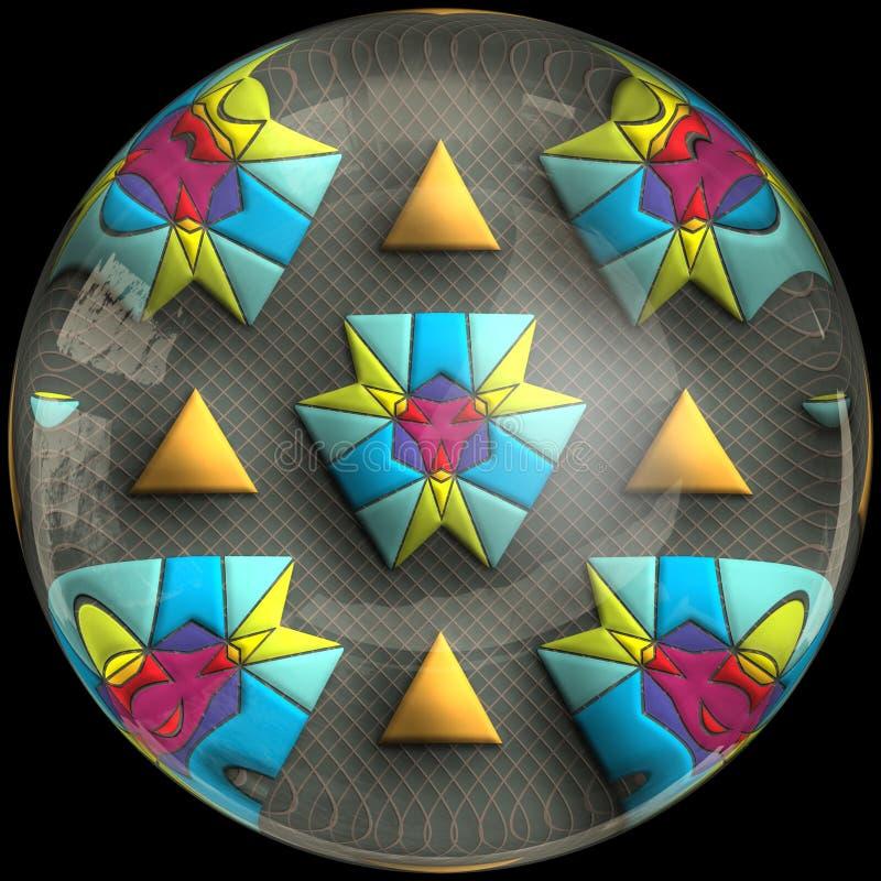 Glansig polerad knapp med nedsänkt fractal royaltyfri illustrationer