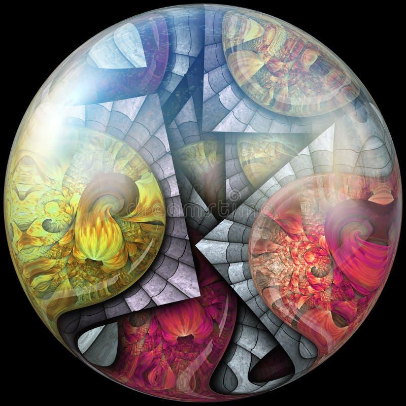 Glansig polerad knapp med nedsänkt fractal stock illustrationer