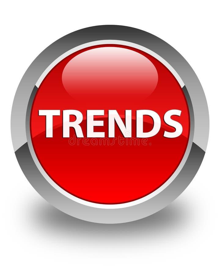 Glansig röd rund knapp för trender stock illustrationer